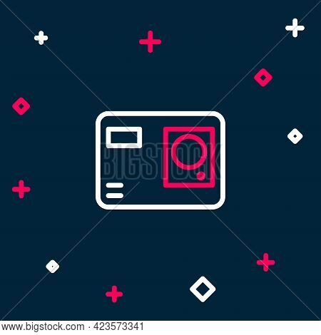Line Action Extreme Camera Icon Isolated On Blue Background. Video Camera Equipment For Filming Extr