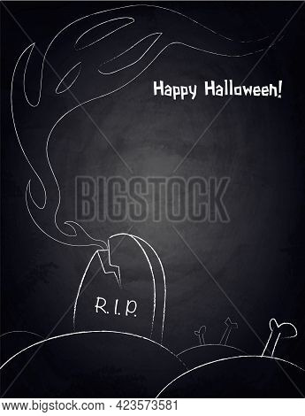 Chalkboard Background For Halloween Design With Hand Drawn Creepy Ghost And Graveyard