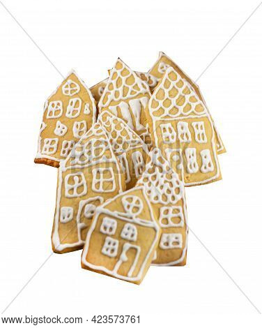 Set Of Gingerbread Cookies Isolated On A White Background. Homemade Cakes In The Form Of Small House