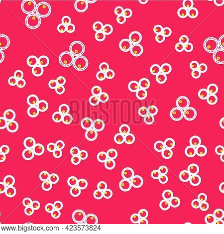 Line Wooden Barrels Icon Isolated Seamless Pattern On Red Background. Alcohol Barrel, Drink Containe