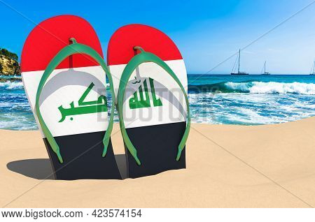 Flip Flops With Iraqi Flag On The Beach. Iraq Resorts, Vacation, Tours, Travel Packages Concept. 3d