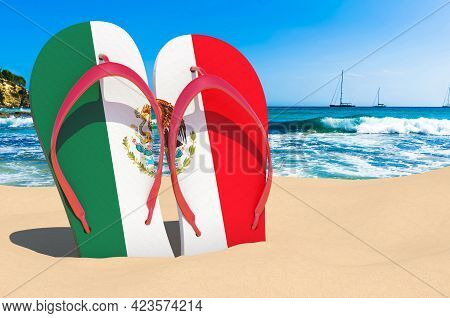 Flip Flops With Mexican Flag On The Beach. Mexico Resorts, Vacation, Tours, Travel Packages Concept.
