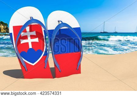 Flip Flops With Slovak Flag On The Beach. Slovakia Resorts, Vacation, Tours, Travel Packages Concept