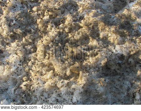 Background: Muddy Spring Dirty Yellow Melting Snow