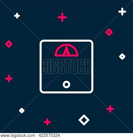 Line Bathroom Scales Icon Isolated On Blue Background. Weight Measure Equipment. Weight Scale Fitnes