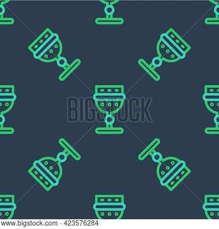 Line Medieval Goblet Icon Isolated Seamless Pattern On Blue Background. Vector