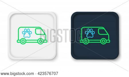 Line Veterinary Ambulance Icon Isolated On White Background. Veterinary Clinic Symbol. Colorful Outl