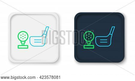 Line Golf Club With Ball On Tee Icon Isolated On White Background. Colorful Outline Concept. Vector