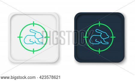 Line Hunt On Rabbit With Crosshairs Icon Isolated On White Background. Hunting Club Logo With Rabbit