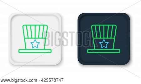 Line Patriotic American Top Hat Icon Isolated On White Background. Uncle Sam Hat. American Hat Indep