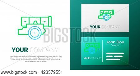 Line Cannon Icon Isolated On White Background. Colorful Outline Concept. Vector