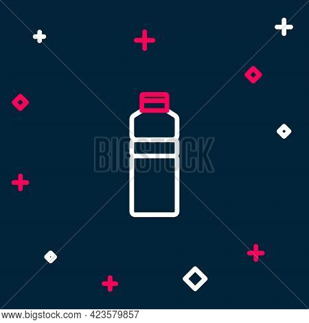 Line Fitness Shaker Icon Isolated On Blue Background. Sports Shaker Bottle With Lid For Water And Pr