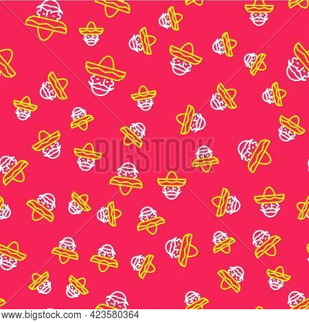 Line Mexican Man Wearing Sombrero Icon Isolated Seamless Pattern On Red Background. Hispanic Man Wit