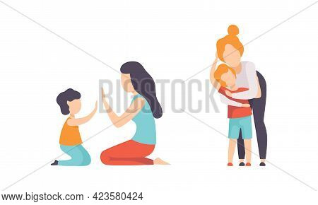 Parents And Their Kids Having Good Time Together Set, Mom Playing Patty Cake And Hugging Son Flat Ve