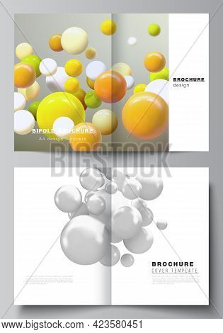 Vector Layout Of Two A4 Cover Mockups Template For Bifold Brochure, Flyer, Magazine, Cover Design, B