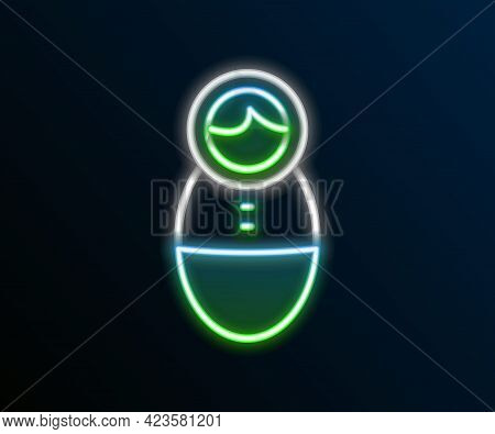 Glowing Neon Line Tumbler Doll Toy Icon Isolated On Black Background. Colorful Outline Concept. Vect