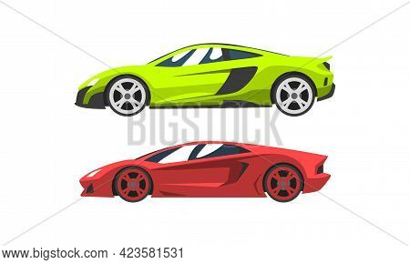 Set Of Fast Motor Racing Cars, Side View Of Colorful Racing Bolids Flat Vector Illustration