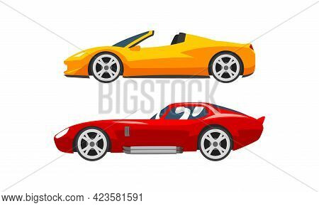 Set Of Fast Motor Racing Cars, Side View Of Red And Yellow Racing Bolids Flat Vector Illustration