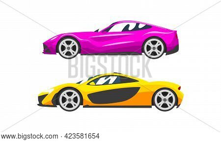 Set Of Fast Motor Racing Cars, Side View Of Racing Bolids Flat Vector Illustration