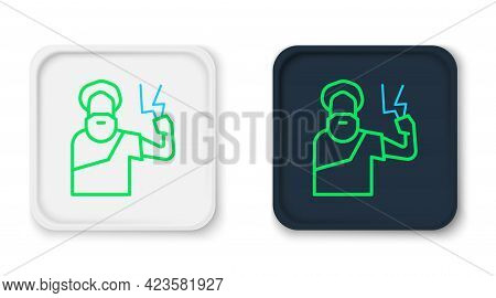 Line Zeus Icon Isolated On White Background. Greek God. God Of Lightning. Colorful Outline Concept.