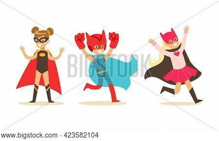 Set Of Boys And Girls Dressed Superhero Costumes, Super Kids Characters Wearing Capes And Mask Carto