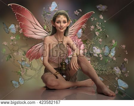 3d Computer Graphics Of A Fairy With Butterfly Wings And Lantern