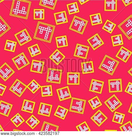 Line Bingo Icon Isolated Seamless Pattern On Red Background. Lottery Tickets For American Bingo Game