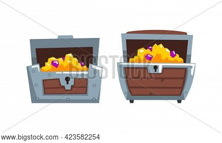Treasure Chests Set, Opened Wooden Old Chest Full Of Gold And Precious Stones Cartoon Vector Illustr