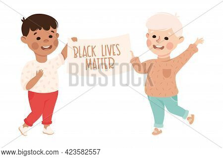 Kind And Fair Little Boys Doing Justice And Engaged In Honest Behavior Vector Illustration