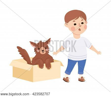Kind And Fair Little Boy Protecting Dog Doing Justice Vector Illustration