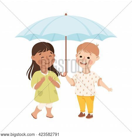 Kind And Fair Little Boy Holding Umbrella Protecting Girl Doing Justice Vector Illustration