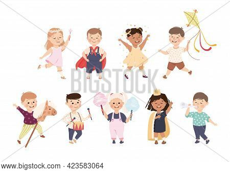 Set Of Cute Boys And Girls Playing And Doing Hobbies, Adorable Kid Leisure Activities Concept Cartoo