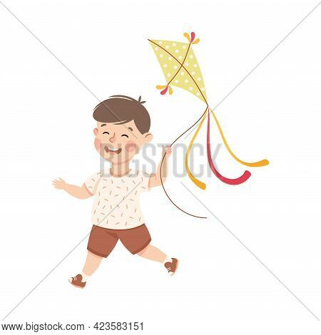 Cute Boy Playing Kite, Adorable Kid Leisure Activity Concept Cartoon Vector Illustration