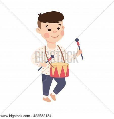 Cute Boy Playing Drum, Adorable Kid Leisure Activity Concept Cartoon Vector Illustration
