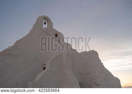 Mykonos Island Cyclades, Greece. Panagia Paraportiani Famous Church, At Sunrise