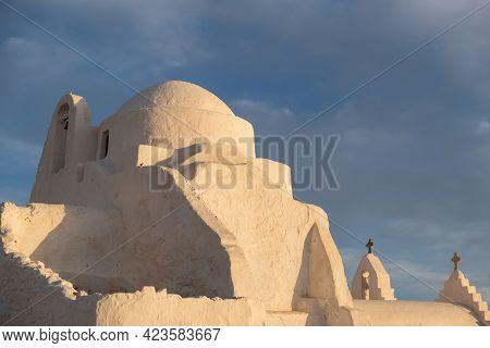 Mykonos Island Cyclades, Greece. Panagia Paraportiani Famous Church, At Sunset.