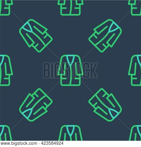Line Bathrobe Icon Isolated Seamless Pattern On Blue Background. Vector