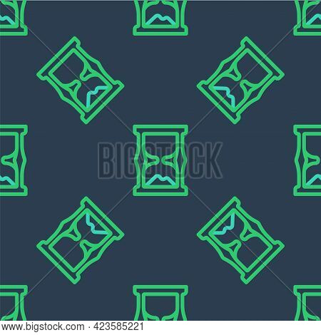 Line Old Hourglass With Flowing Sand Icon Isolated Seamless Pattern On Blue Background. Sand Clock S