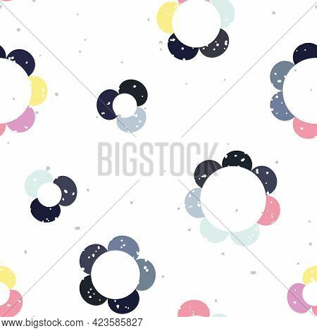 Vector Cute Retro Colorful Daisies Seamless Pattern Background. Perfect For Fabric, Scrapbooking And