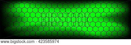 Green Modern Technology Header With Black Hexagon Mesh. Abstract Metal Geometric Texture Banner. Sim