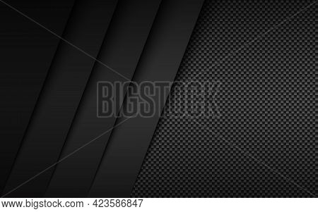 Black And Grey Modern Material Design With Carbon Fibre Texture. Overlapped Layers Background. Vecto