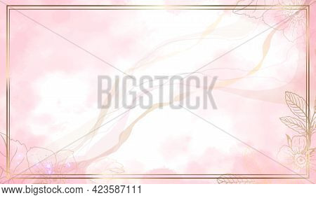 Luxurious Gold Frame With Flowers. Watercolor Background And Spots Of Pink Paint. Gold Leaves Wall A
