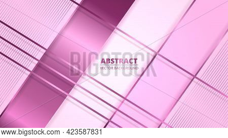 Luxury Abstract Background With Pink Gradient Lines And Shadows. Modern Light Pastel Color Banner Wi