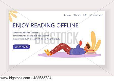 Enjoy Reading Offline Landing Page Vector Template. Bookstore Website Interface Idea With Flat Illus