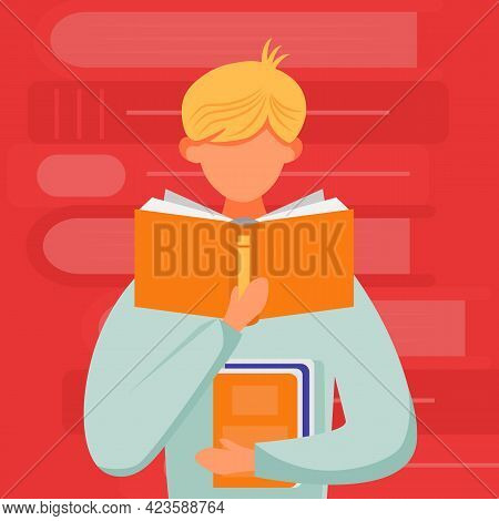 Man Reading Book Flat Vector Illustration. Junior With Textbook. Young Man Learning Publication. Sta