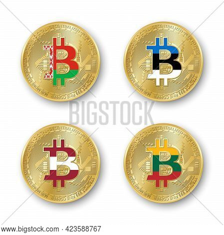 Four Golden Bitcoin Coins With Flags Of Belarus, Estonia, Latvia And Lithuania. Vector Cryptocurrenc