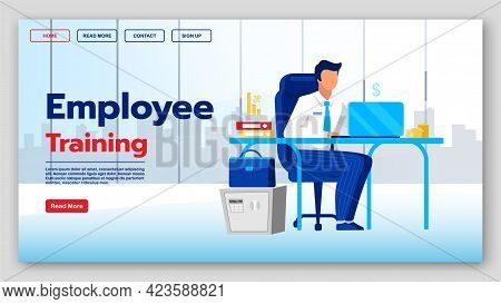 Employee Training Landing Page Vector Template. Educational Courses Website Interface Idea With Flat