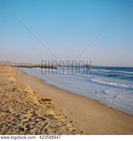 Film Image Of Coastal Waters Breaking Beach Off Of Southern California.