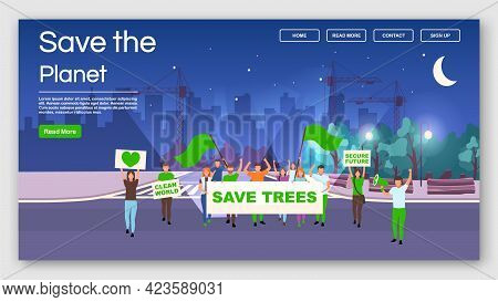 Save The Planet Demonstration Landing Page Vector Template. Environment Protection Protest Action We