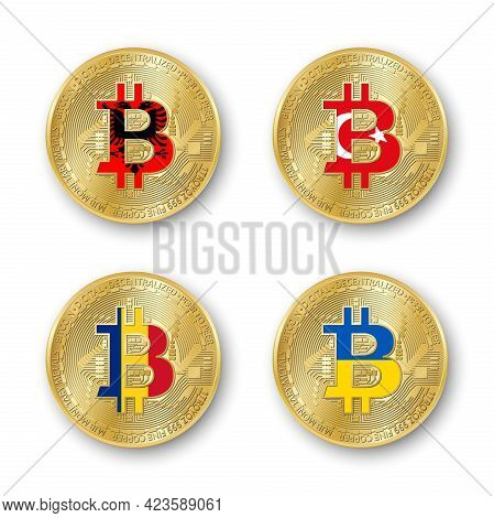 Four Golden Bitcoin Coins With Flags Of Albania, Romania, Turkey And Ukraine. Vector Cryptocurrency